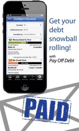 Great app to help you use the debt snowball method